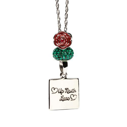 M-22 Michigan &  Rose Pendant Necklace
