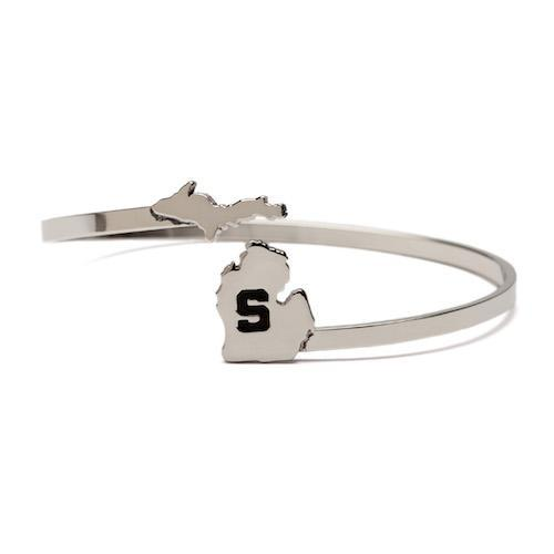 MSU Stainless Steel S Bangle Bracelet