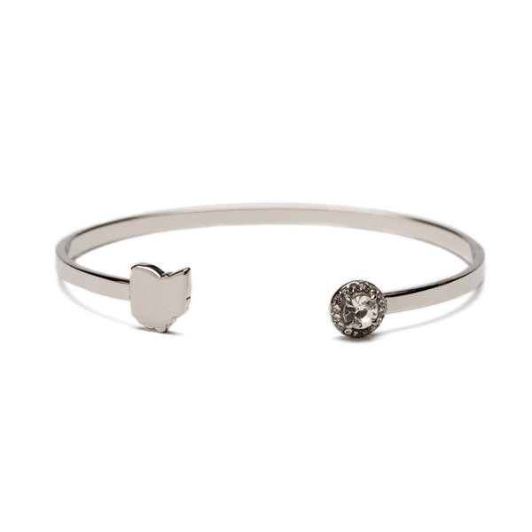 Ohio Map Stainless Steel Bangle Bracelet with Crystal
