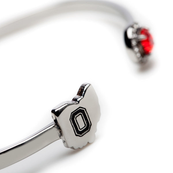 Ohio State Map Bangle with Scarlet Crystal