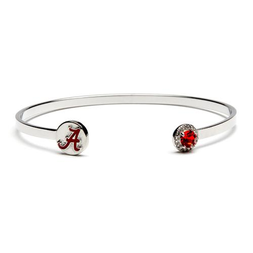Alabama Crimson Tide A Logo Bangle Bracelet With Crystals - University of Alabama Charm Jewelry - UA Bama Gifts