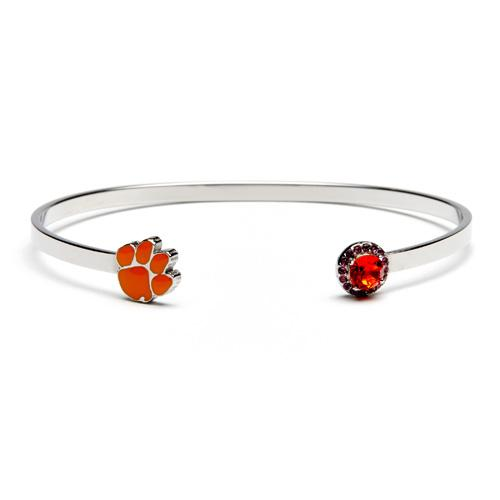 Clemson Paw with Orange Crystal Bangle Bracelet