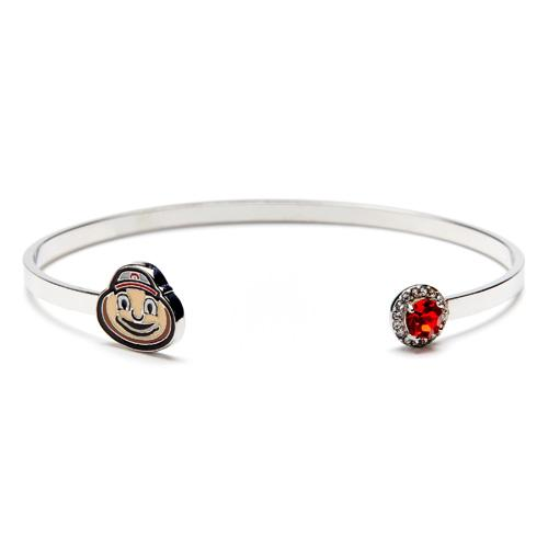 Brutus Ohio State Charm Bracelet Bangle with Scarlet & Clear Crystals