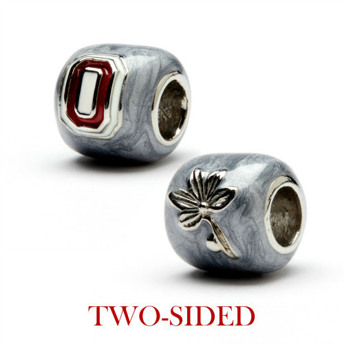 OSU Grey Block O with Scarlet Crystals Bead Charm Set