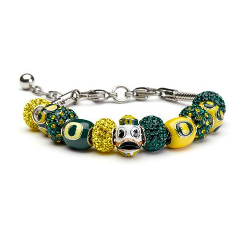 University of Oregon Ducks Bead Charm Bracelet Jewelry
