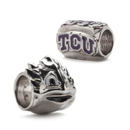 TCU Horned Frog Bead Charm Set of Two
