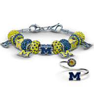 Gift Set- Ultimate Michigan Wolverines Fan Charm Bracelet and Ring