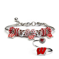 Gift Set- Ultimate Wisconsin Fan Charm Bracelet and Ring