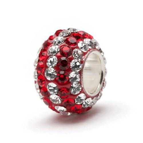 Red and Clear Striped Crystal Bead Charm Set