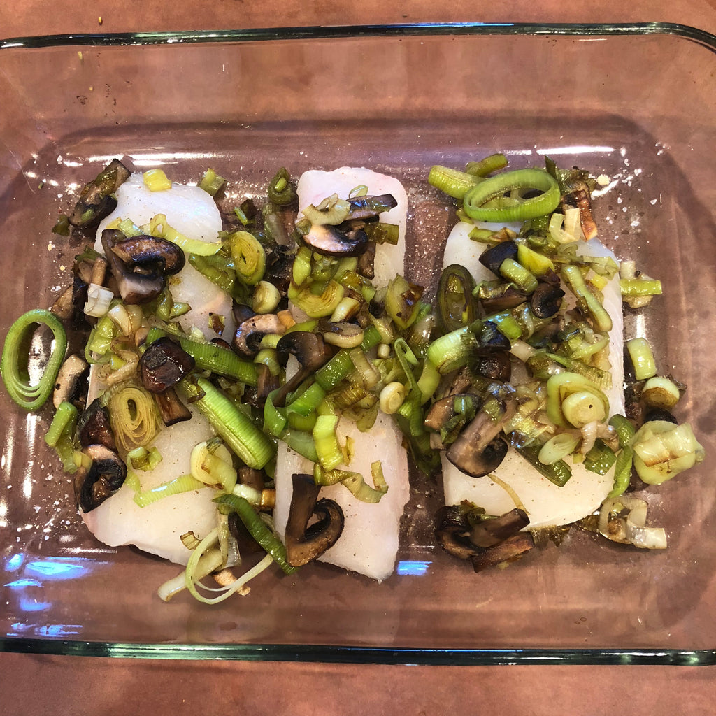 Halibut with Sauteed Leeks and Mushrooms