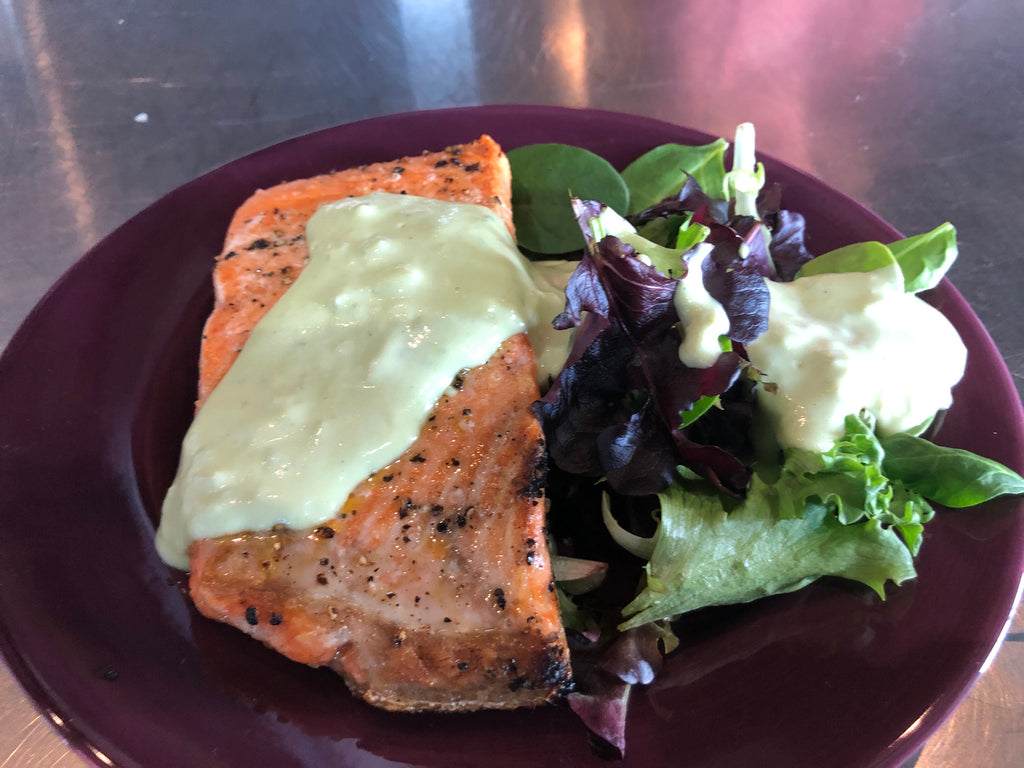 Salt Crusted Salmon with Creamy Avocado Sauce