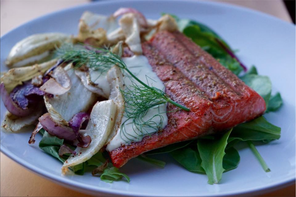 Fennel Crusted Sockeye with Grilled Salad