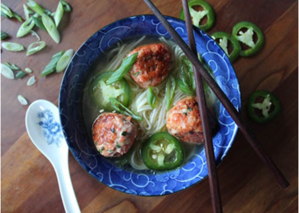 Miso Udon With Salmon Meatballs