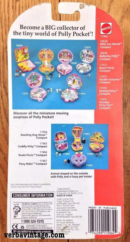 Polly Pocket 1993 MIP Dazzling Dog Show Back Package