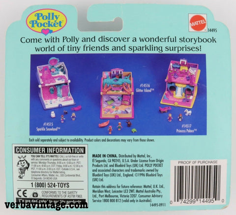 Polly Pocket 1995 MIP Glitter Dreams Locket Back Package
