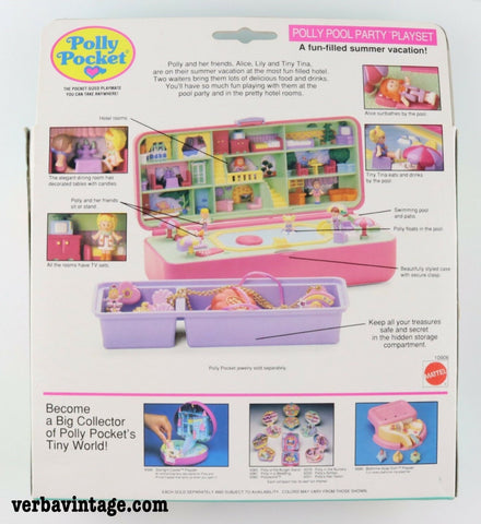 Polly Pocket 1989 MIP Pool Party Playset Back Package