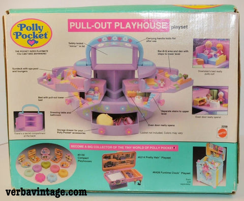 Polly Pocket 1991 MIP Pull-out Playhouse Back Package