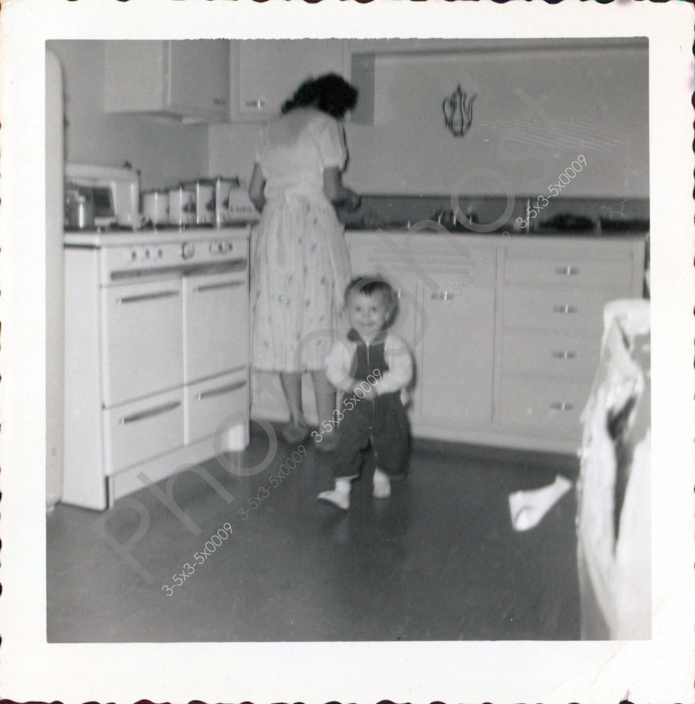 Vintage Photo Memories of Mom in the Kitchen - High tech stove - Retro -  Baby - Vintage Snapshot - 1950s