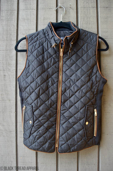 ALONG FOR THE RIDE QUILTED VEST - BLACK