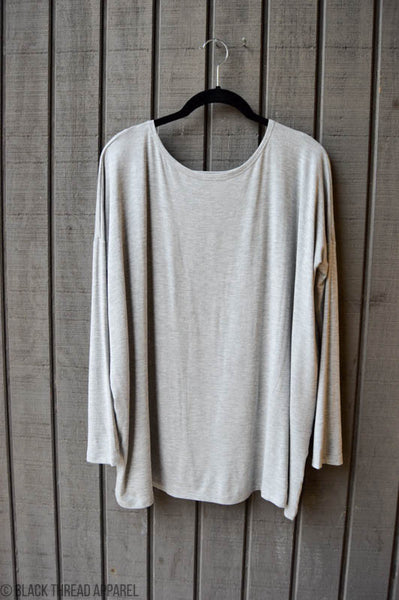 OVERSIZED LONG SLEEVE KNIT TOP - HEATHER GREY - FINAL SALE