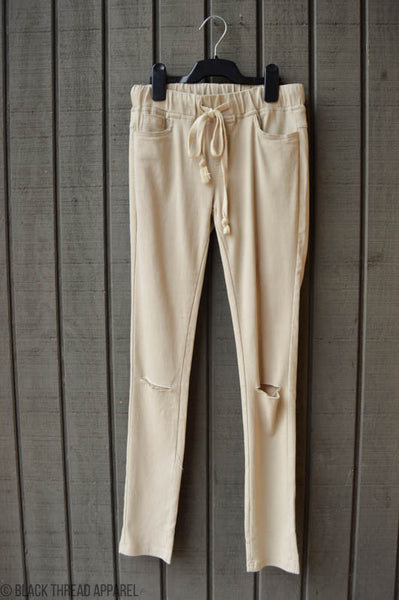 DRAWSTRING JEGGING - CREAM - FINAL SALE
