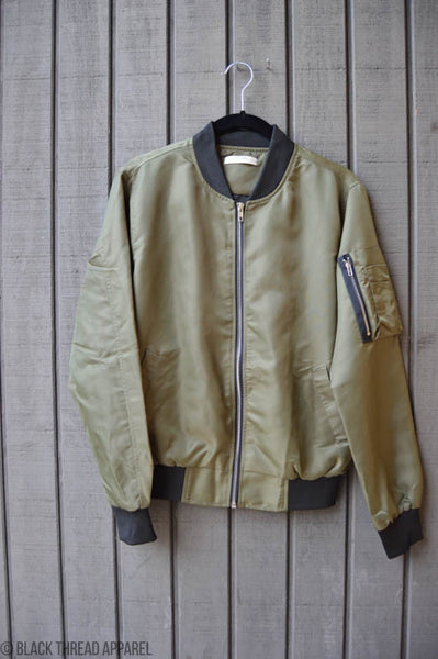 TWO TONE BOMBER JACKET - OLIVE - FINAL SALE