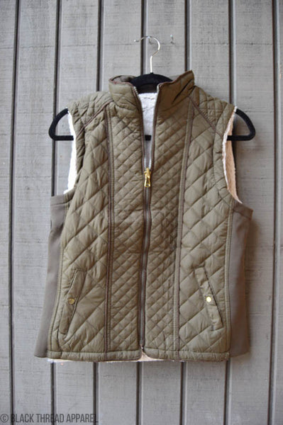 FAUX SHEERLING LINED QUILTED VEST - SAGE - FINAL SALE