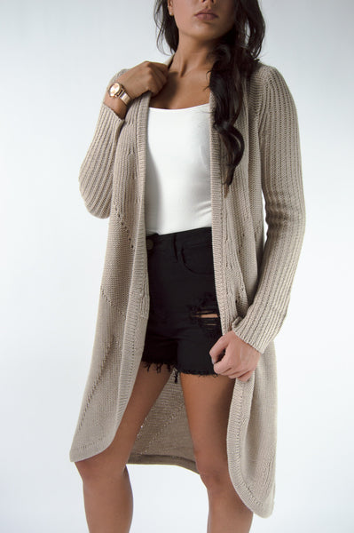 COOL NIGHTS CARDIGAN - TAUPE