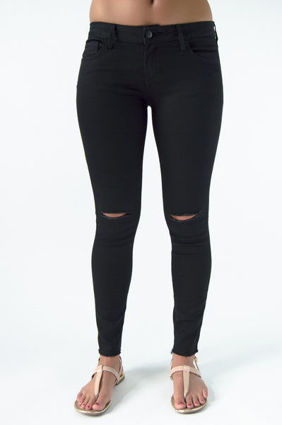 DISTRESSED ANKLE JEANS - BLACK