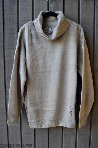 DISTRESSED KNIT SWEATER PULLOVER - SLATE