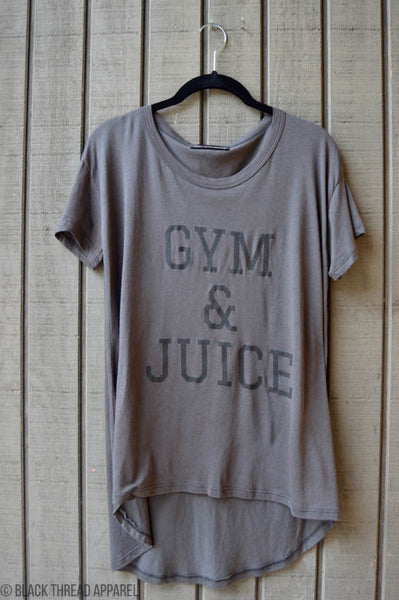 GYM AND JUICE LOOSE FIT TEE - CHARCOAL - FINAL SALE