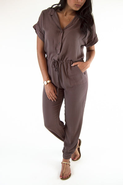 SAM JUMPSUIT - BROWN - FINAL SALE
