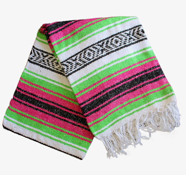 Classic Mexican Baja Blanket: Pink and Lime