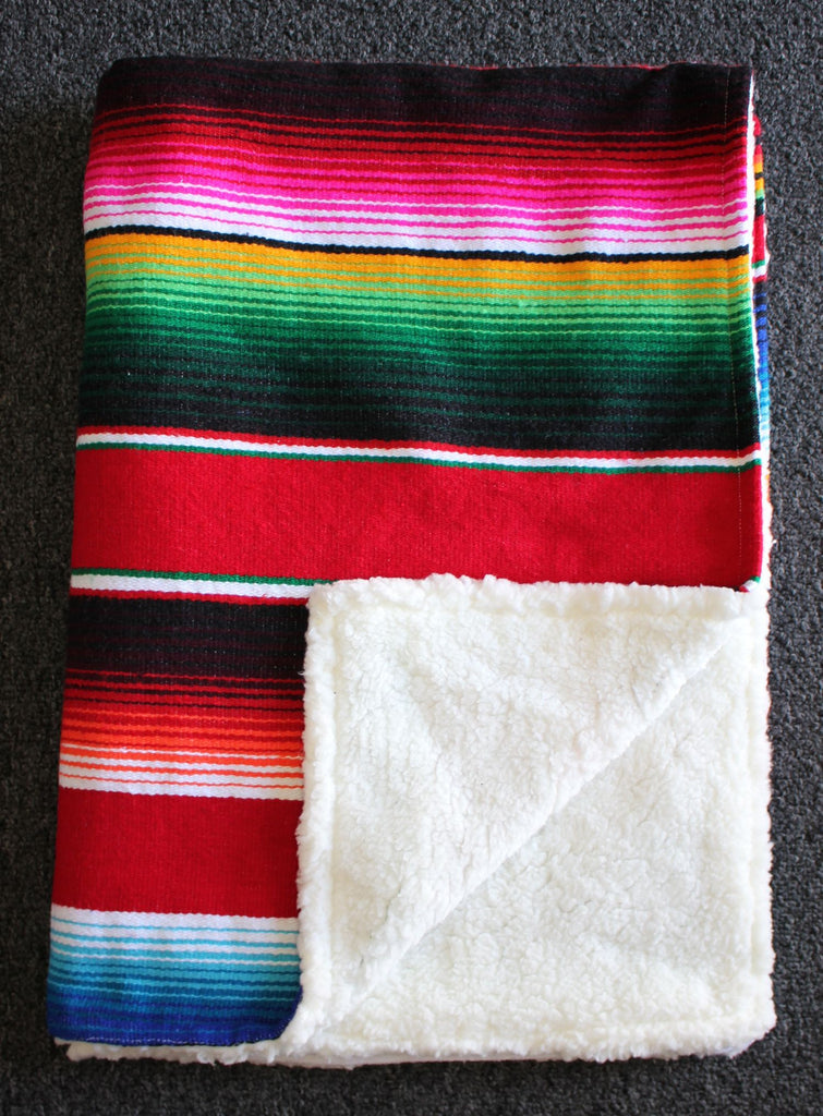 Baja Baby™ Mexican Serape Baby Blanket -Red - Del Mex - 2