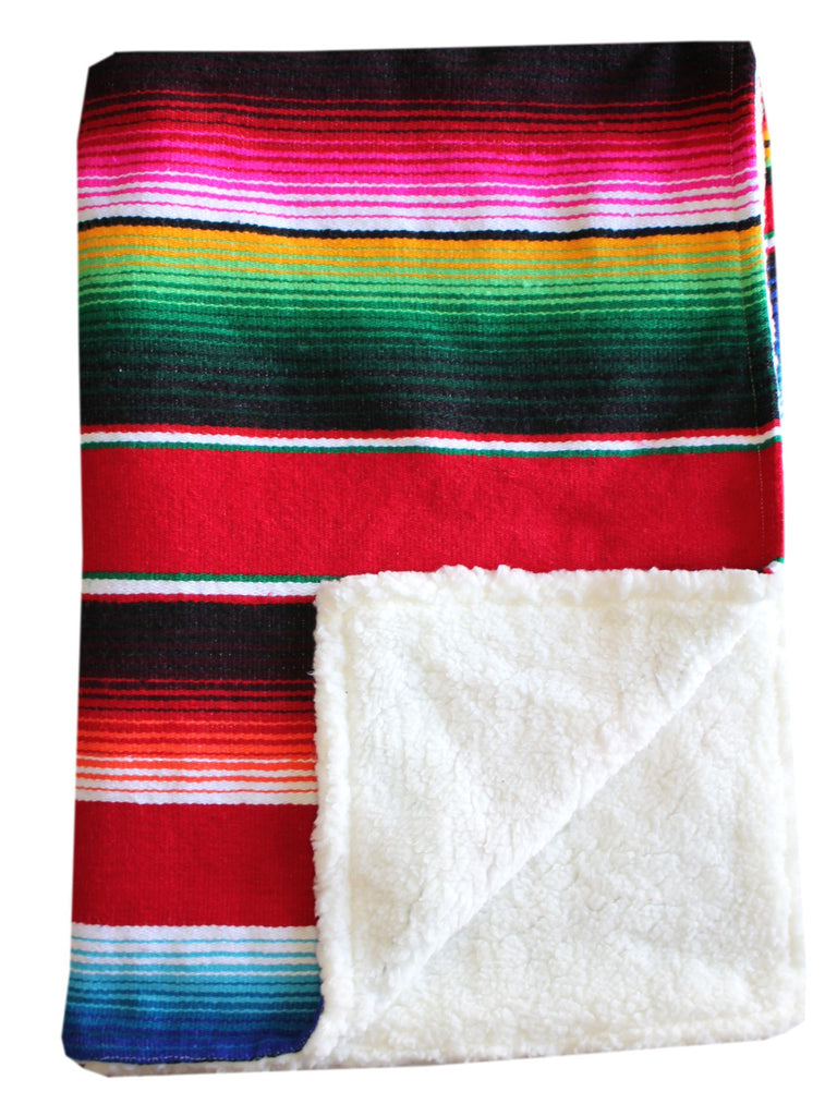 Baja Baby™ Mexican Serape Baby Blanket -Red - Del Mex - 1