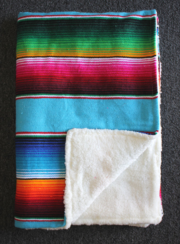 Baja Baby™ Mexican Serape Baby Blanket -Turquoise - Del Mex