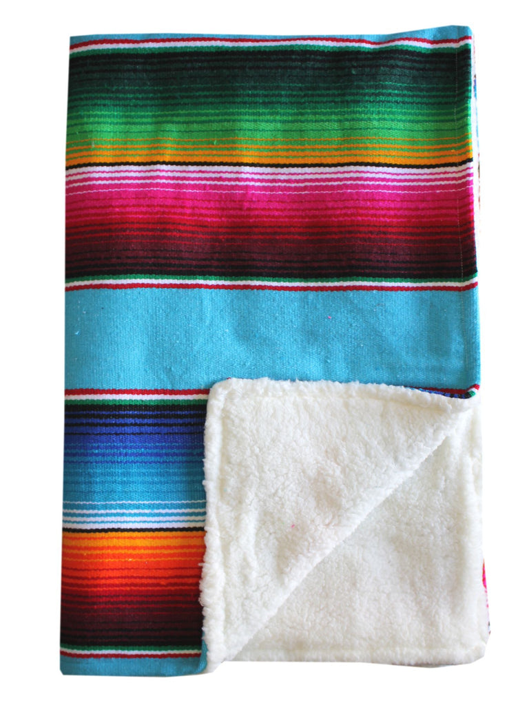 Baja Baby™ Mexican Serape Baby Blanket -Turquoise
