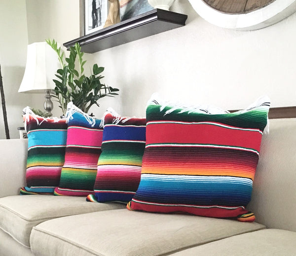 Serape Mexican Blanket Pillow with Fringe - Del Mex - 1