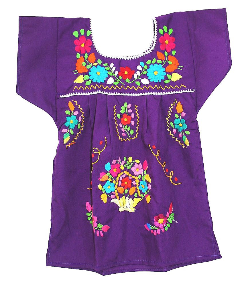 Embroidered Youth Dress: Lime & Purple - Del Mex - 4