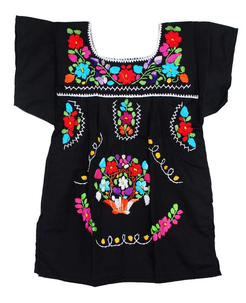 Embroidered Youth Dress: Black - Del Mex - 2