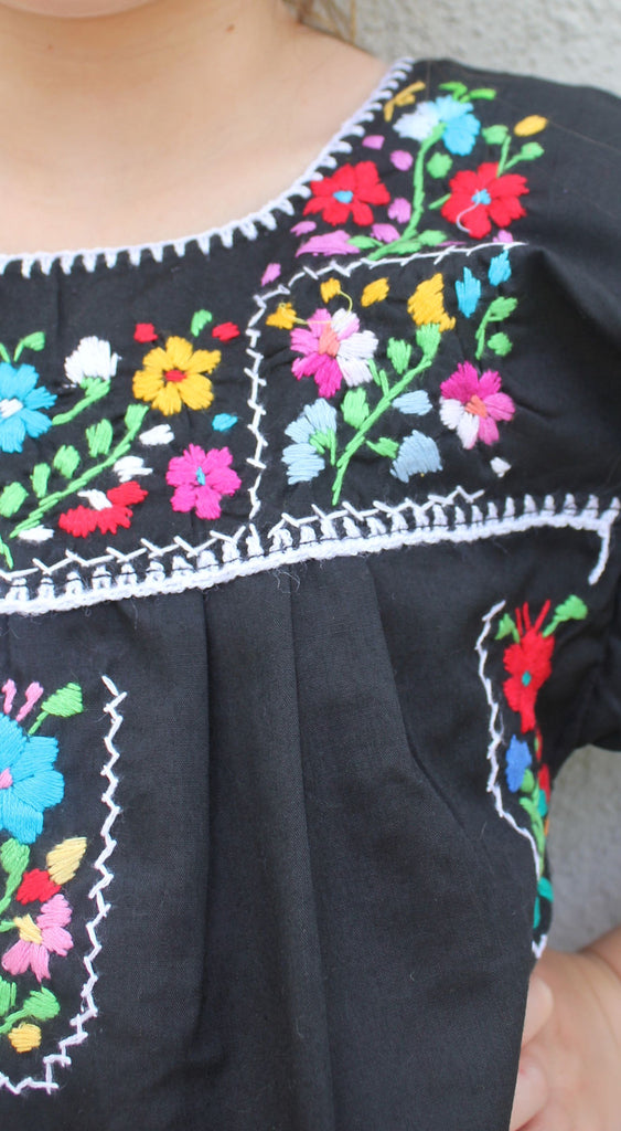 Embroidered Youth Dress: Black - Del Mex - 3