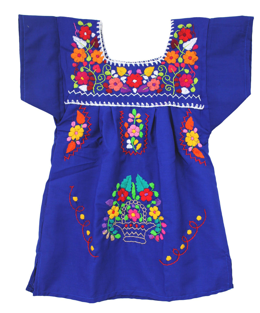 Embroidered Youth Dress: Blue - Del Mex - 2