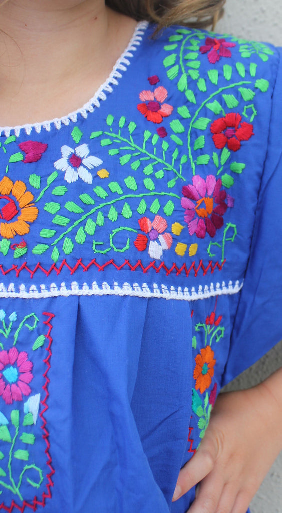 Embroidered Youth Dress: Blue - Del Mex - 3