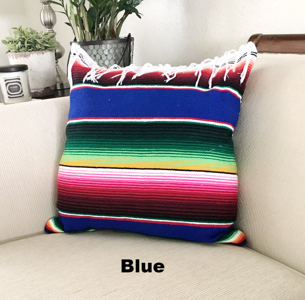 Serape Mexican Blanket Pillow with Fringe - Del Mex - 4