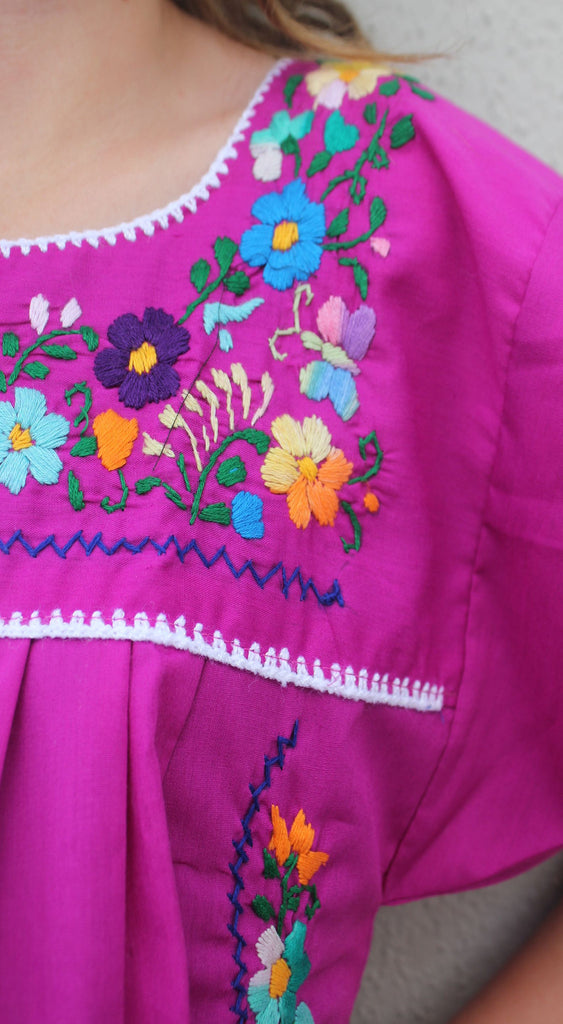 Embroidered Youth Dress: Plum - Del Mex - 3