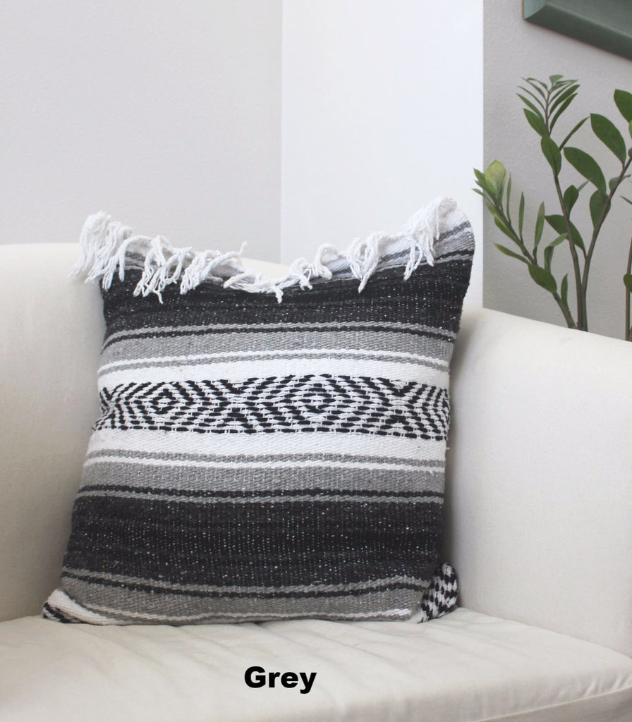 Classic Mexican Blanket Pillow with Fringe - Del Mex - 3