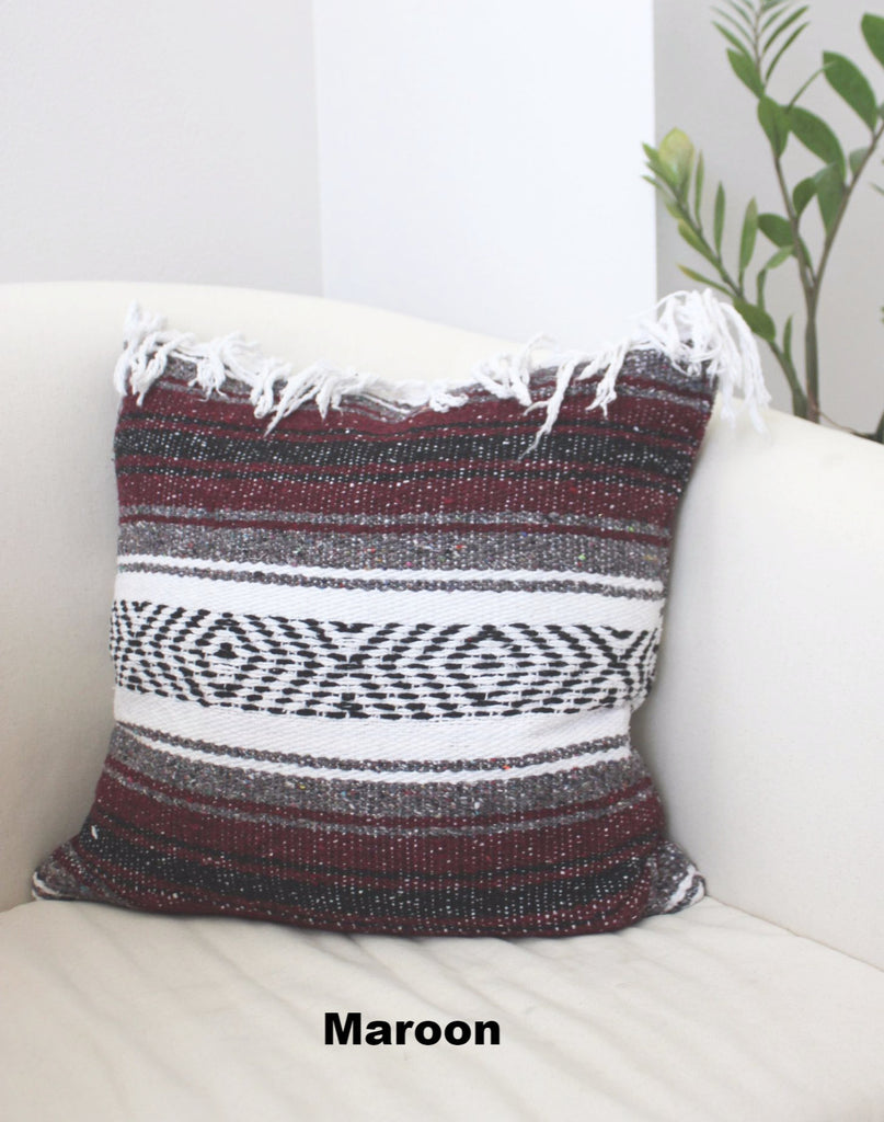 Classic Mexican Blanket Pillow with Fringe - Del Mex - 7