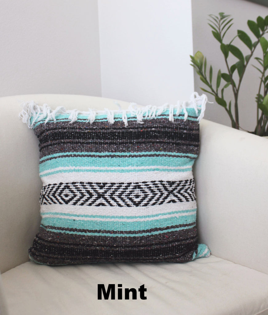 Classic Mexican Blanket Pillow with Fringe - Del Mex - 6