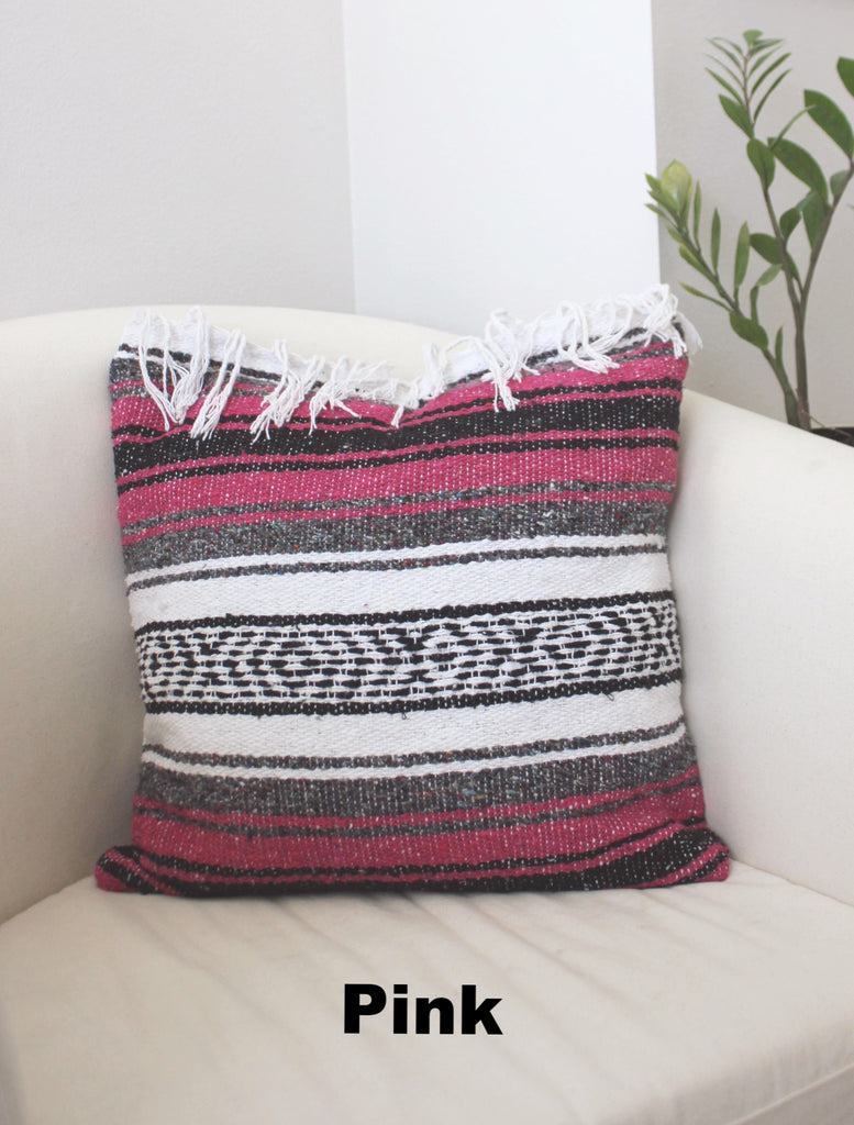 Classic Mexican Blanket Pillow with Fringe - Del Mex - 4