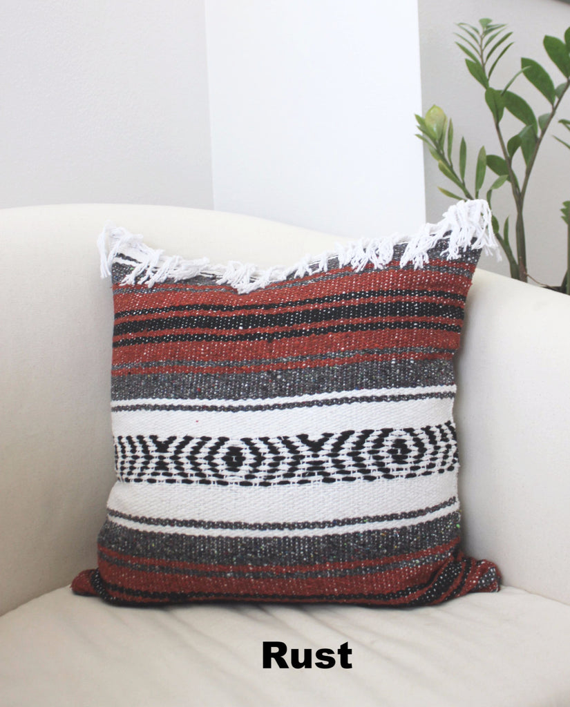 Classic Mexican Blanket Pillow with Fringe - Del Mex - 5